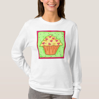Yellow Heart Cupcake Block Tee Shirt