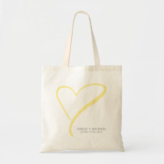 Yellow Heart Doodle Tote Bag