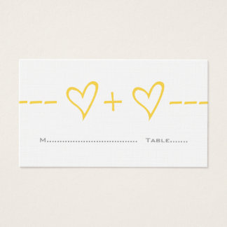 Yellow Heart Equation Place Card