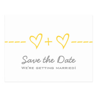 Yellow Heart Equation Save the Date Postcard