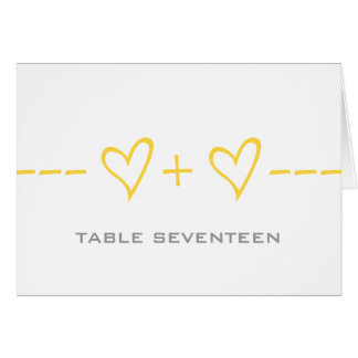 Yellow Heart Equation Table Number Card