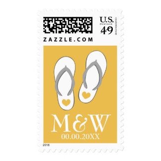 Yellow heart flip flops beach wedding stamps