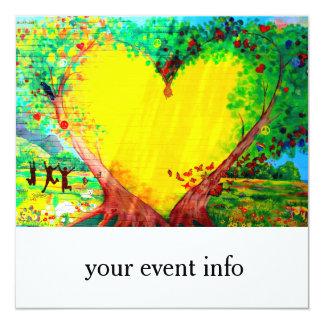 yellow heart invitation