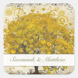 Yellow Heart Leaf Tree Wedding Seal