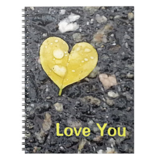 Yellow Heart Leaf with Raindrop Spiral Notebook