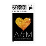 yellow heart of love monogram on black postage