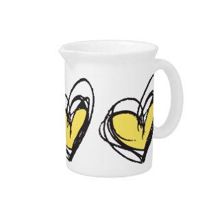 Yellow Heart Pitcher— Trendy & Elegant Beverage Pitcher