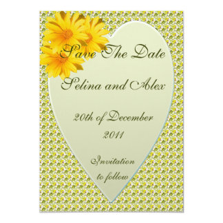 Yellow Heart Save the Date Card