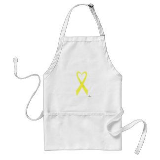 Yellow Heart Shaped Awareness Ribbon Adult Apron