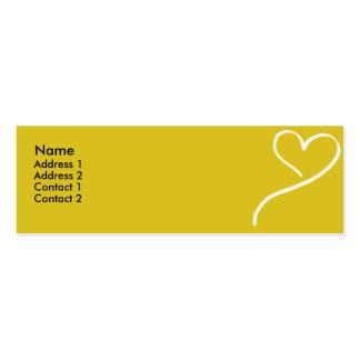 Yellow Heart - skinny Business Card
