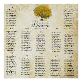 Yellow Heart Tree 100 to 150 guest alphabetical Print