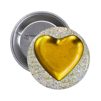 Yellow heart wall background button
