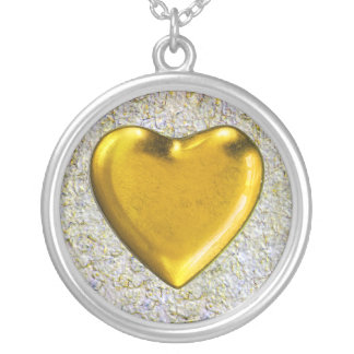 Yellow heart wall background silver plated necklace