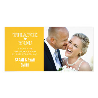 Yellow Heart Wedding Photo Thank You Cards Customized Photo Card