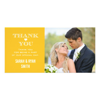 Yellow Heart Wedding Photo Thank You Cards Photo Card Template