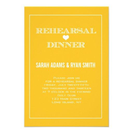 Yellow Heart Wedding Rehearsal Dinner Invitations