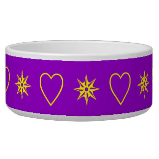 yellow hearts and stars on purple bowl