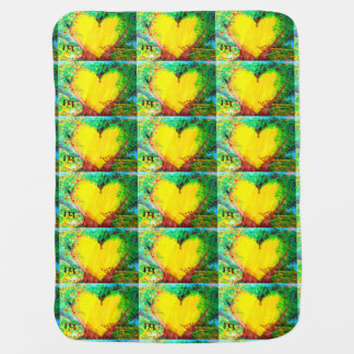 yellow hearts baby blanket swaddle blanket