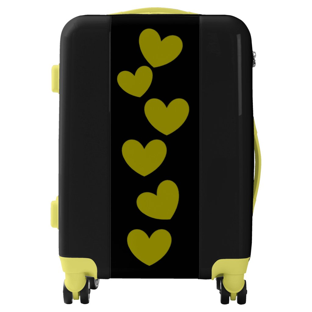 Yellow Hearts on Black Suitcase Luggage