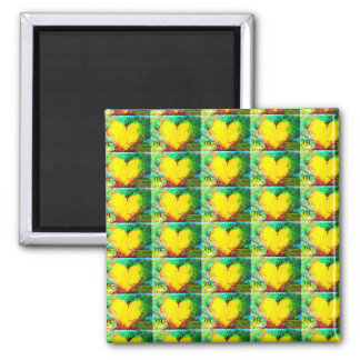 yellow hearts on green magnet