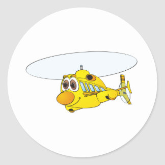 Yellow Helicopter Cartoon Classic Round Sticker