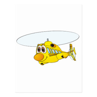 Yellow Helicopter Cartoon Postcard