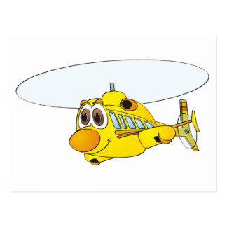 Yellow Helicopter Cartoon Postcards