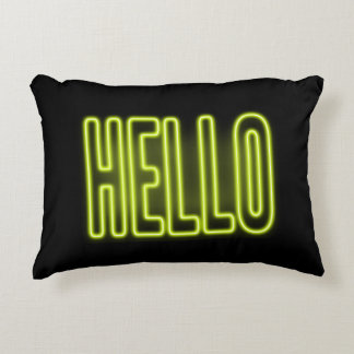 Yellow HELLO Neon Sign Accent Pillow