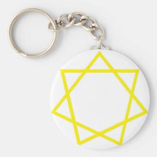 Yellow Heptagram Basic Round Button Keychain