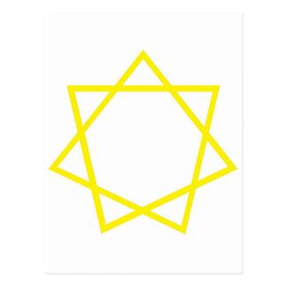 Yellow Heptagram Postcard