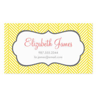 Yellow Herringbone Double-Sided Standard Business Cards (Pack Of 100)
