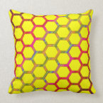 Yellow Hexagon Design With Colorful Line Pattern Pillow (<em>$49.60</em>)