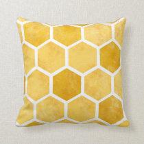 Yellow hexagon honeycomb bee pillow