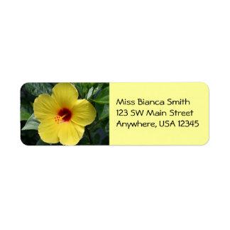 Yellow Hibiscus Address Labels