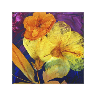 Yellow Hibiscus and company - art print on canvas