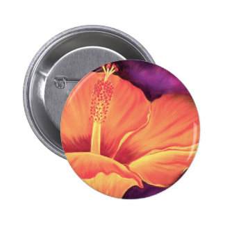 Yellow Hibiscus Art Flower Painting - Multi Pinback Button