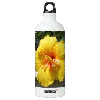 Yellow hibiscus art water bottle