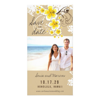 Yellow Hibiscus Beach Wedding Save The Date Card