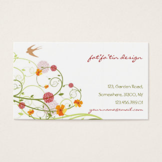 Yellow Hibiscus Chic Floral Swirls Swallows Birds Business Card