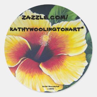 Yellow Hibiscus Classic Round Sticker