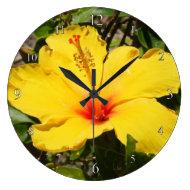 Yellow Hibiscus Clock