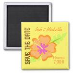 Yellow Hibiscus Custom Magnet Favor