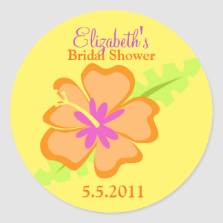 Yellow Hibiscus Customizable Favor Stickers