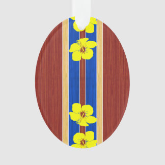 Yellow Hibiscus Fake Wood Surfboard