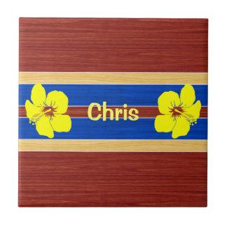 Yellow Hibiscus Fake Wood Surfboard Ceramic Tile