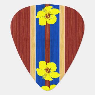 Yellow Hibiscus Fake Wood Surfboard Guitar Pick
