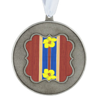Yellow Hibiscus Fake Wood Surfboard Scalloped Ornament