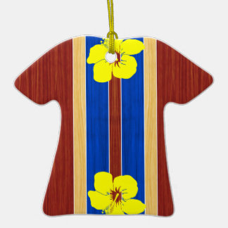 Yellow Hibiscus Fake Wood Surfboard Christmas Tree Ornaments