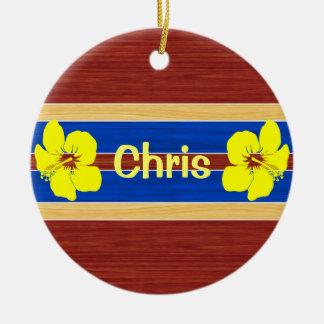 Yellow Hibiscus Fake Wood Surfboard Christmas Tree Ornament