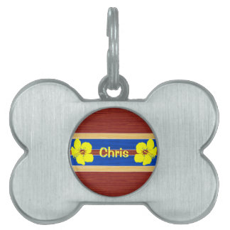 Yellow Hibiscus Fake Wood Surfboard Pet ID Tags